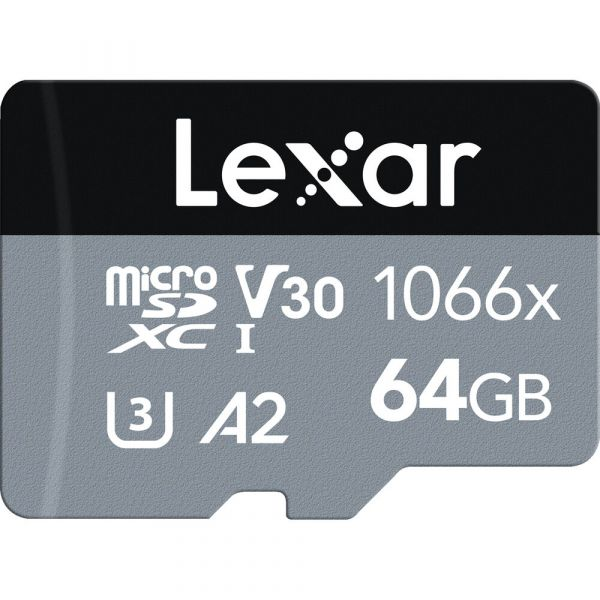 Lexar 64GB Professional 1066x UHS-I microSDXC Memory Card with SD Adapter (SILVER Series)