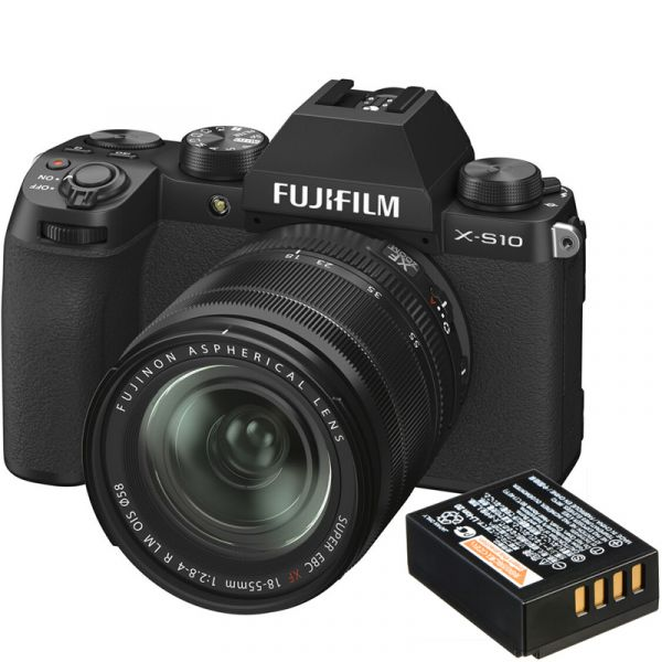 Fujifilm X-S10 Mirrorless Digital Camera with 18-55mm Lens with Free Battery (Black)