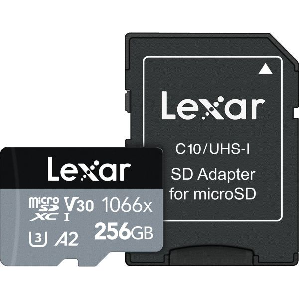 Lexar 256GB Professional 1066x UHS-I microSDXC Memory Card with SD Adapter (SILVER Series)