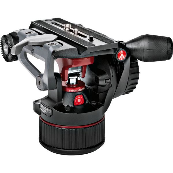 Manfrotto MVKN8TWINM Nitrotech N8 Head & 546B Legs with Mid-Level Spreader Tripod Video Kit + Padded Bag