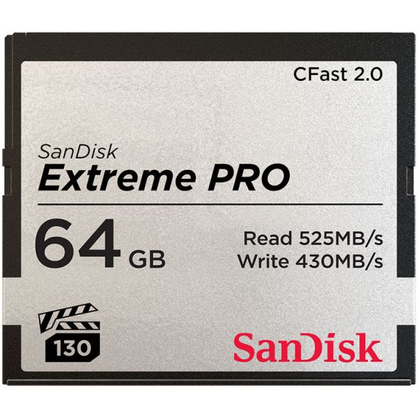 SanDisk 64GB Extreme PRO 525MB/s CFast 2.0 Memory Card