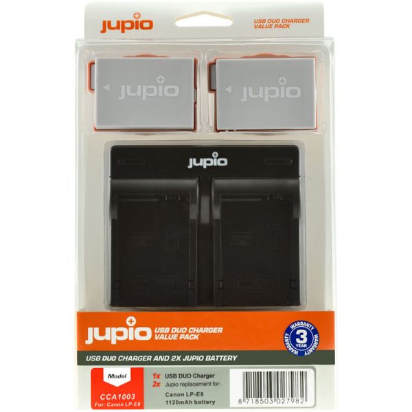 Jupio 2 x LP-E8 Batteries and USB Dual Charger Value Pack (1120mAh)