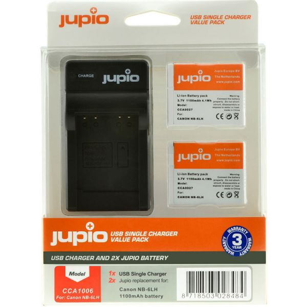 Jupio Pair of NB-6LH Batteries and USB Single Charger Value Pack