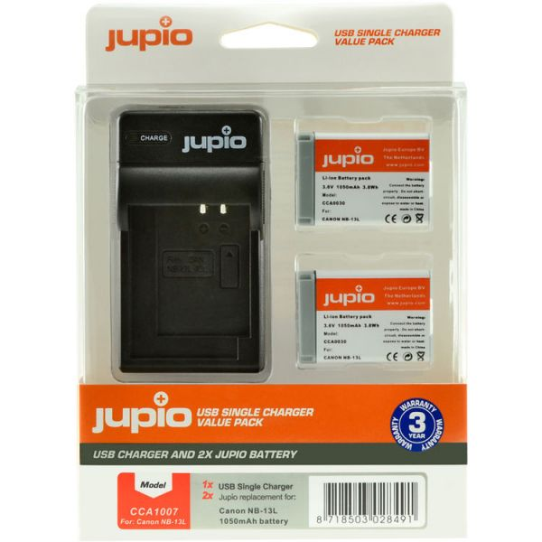 Jupio Pair of NB-13L Batteries and USB Single Charger Value Pack