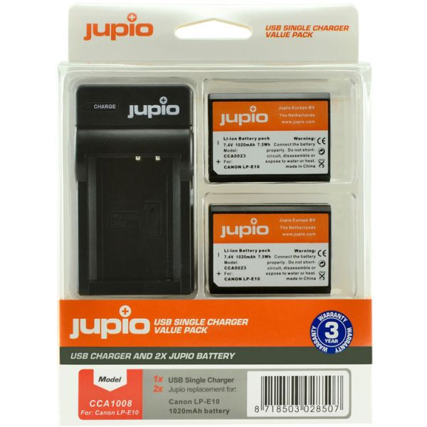 Jupio Pair of LP-E10 Batteries and USB Single Charger Value Pack