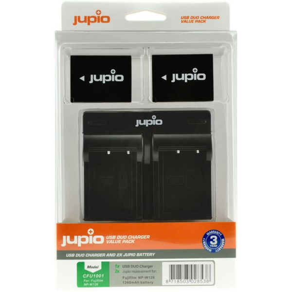 Jupio 2 x NP-W126S Batteries and USB Dual Charger Value Pack (1260mAh)