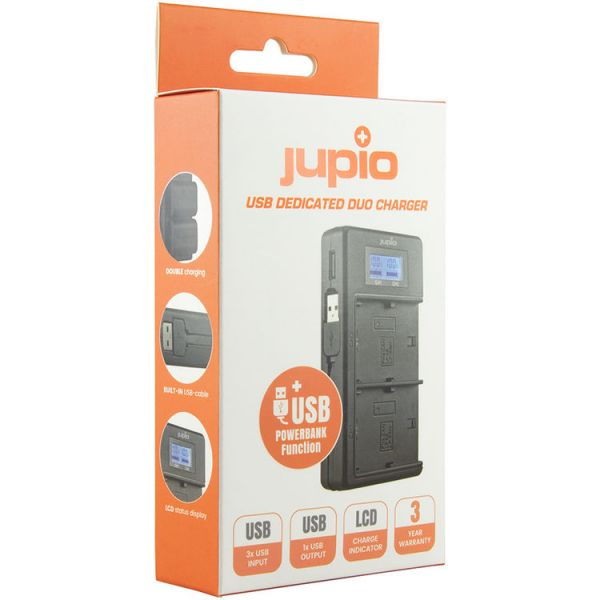 Jupio USB Duo LCD Charger for Sony NP-F550/NP-F750/NP-F970/NP-FM50