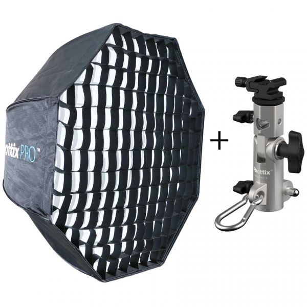 Phottix Pro Easy-Up HD Octa Umbrella Softbox with Grid 80cm & Varos S Adapter