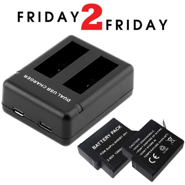 DoubleCharge AHDBT-501 Dual Battery Charger with 2 Batteries for GoPro HERO Cameras
