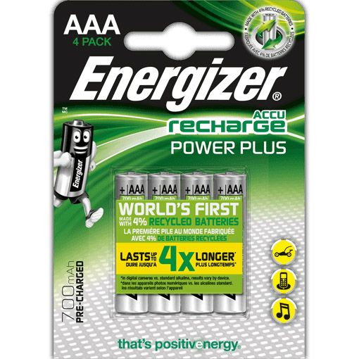 Energizer AAA 700mAh Recharge Power Plus Rechargeable Batteries (Pack of 4)