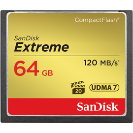 SanDisk 64GB Extreme 120MB/s CompactFlash Memory Card