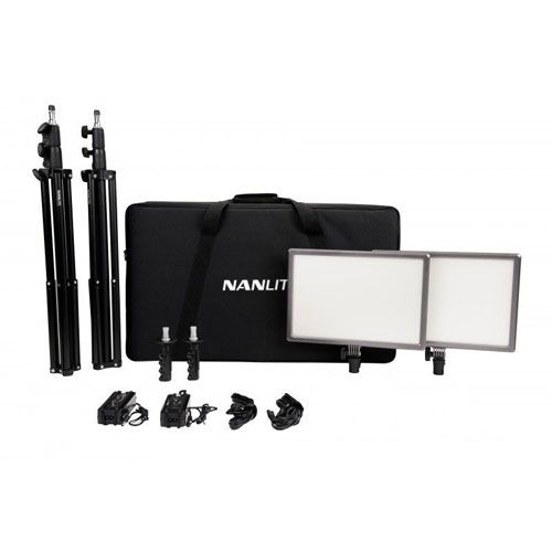 Nanlite LumiPad 25 LED/2 Light Kit with Stands & Power Adapters