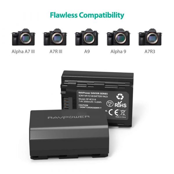 RAVPower Dual Battery & Charger Kit for Sony NP-FZ100