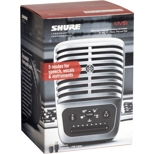 Shure MOTIV MV51 Large-Diaphragm Cardioid USB Microphone for Computers and iOS Devices