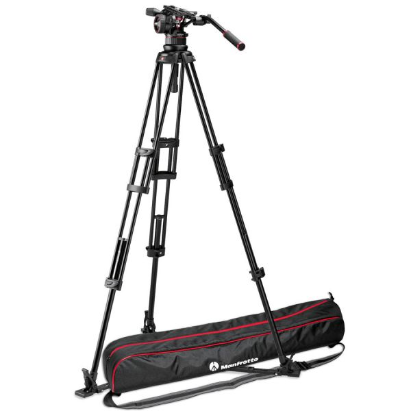 Manfrotto MVKN12TWING Nitrotech N12 Head & 545GB Legs with Ground Spreader Tripod Video Kit + Padded Bag