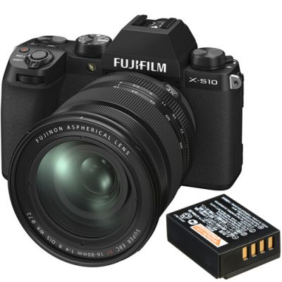 Fujifilm X-S10 Mirrorless Digital Camera with 16-80mm Lens with Free NP-W126S Battery Pack (Black)