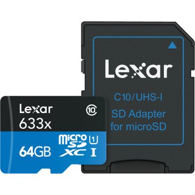 Lexar 64GB microSDXC 633x 95MB/s UHS-I Memory Card with SD Adapter