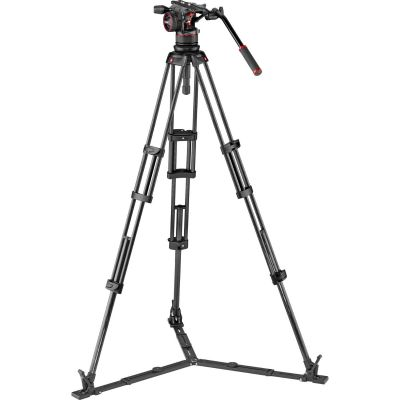 Manfrotto MVKN12TWINGC Nitrotech N12 head & Carbon Fibre Twin Legs with Ground Spreader Tripod Vid Kit + Bag