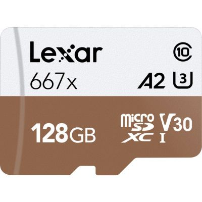 Lexar 128GB High-Speed 677x 100MB/s UHS-I microSDXC Memory Card with SD Adapter