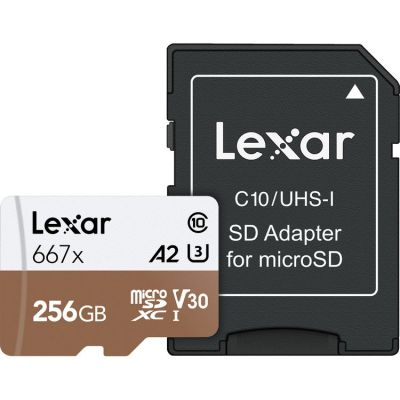 Lexar 256GB High-Speed 677x 100MB/s UHS-I microSDXC Memory Card with SD Adapter