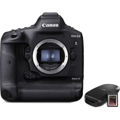 Canon EOS-1D X Mark III DSLR Camera Body with CFexpress Card and Reader Bundle