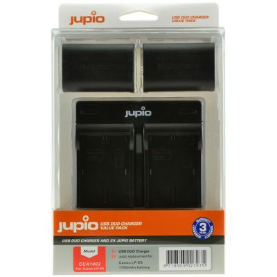 Jupio 2 x LP-E6 Batteries and USB Dual Charger Value Pack (1700mAh)