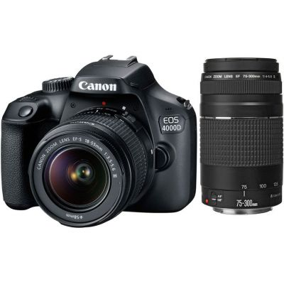 Refurbished Canon EOS 4000D DSLR with EF-S 18-55mm DC III & EF 75-300mm f/4-5.6 III Lenses (CANR080)