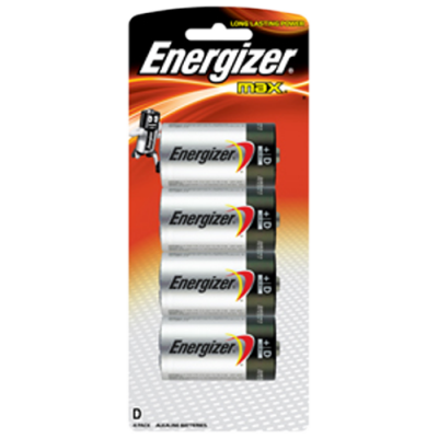 Energizer E95BP4 1.5v MAX Alkaline D-size Battery Card 4