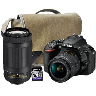 Nikon D5600 DSLR with AF-P 18-55mm DX VR, AF-P 70-300mm, Bag, 16GB Card