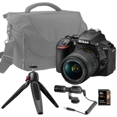 Nikon D5600 DSLR with AF-P 18-55mm DX VR Lens, Bag, 32GB Card and Free Vlogging Kit