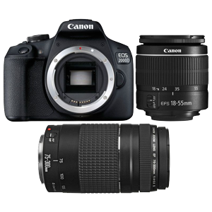 Canon EOS 2000D DSLR with EF-S 18-55mm IS II & EF 75-300mm f/4-5.6 III