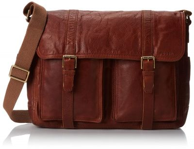 USED Fossil Leather Cognac Messenger Bag - Rating 9/10 (S31105)