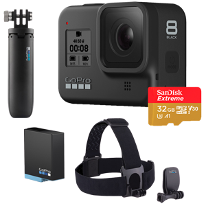 GoPro HERO8 Black Action Camera with Free Shorty, Head Strap, Battery & 32GB Memory Card