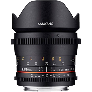 Samyang 16mm T2.6 ED AS UMC Cine Lens (Full Frame Sony E Mount)