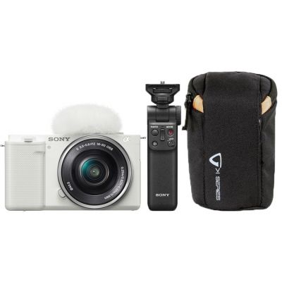 Sony ZV-E10 Mirrorless Camera with 16-50mm Lens & Free Sony GP-VPT2BT Wireless Grip and Vanguard Camera Pouch (White)