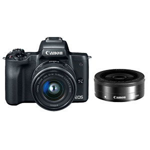 Canon EOS M50 Mirrorless Camera with 15-45mm & 22mm Lens (Black)