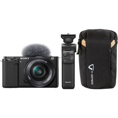 Sony ZV-E10 Mirrorless Camera with 16-50mm Lens & Free Sony GP-VPT2BT Wireless Grip and Vanguard Camera Pouch